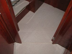 easybind carpet binding tape fitted on board a yachy carpet