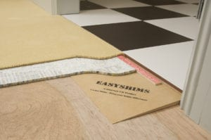 How to use Easyshims to raise a carpet up to a thicker tile in doorway