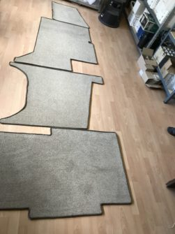 bespoke carpet roped edged for use in a caravan