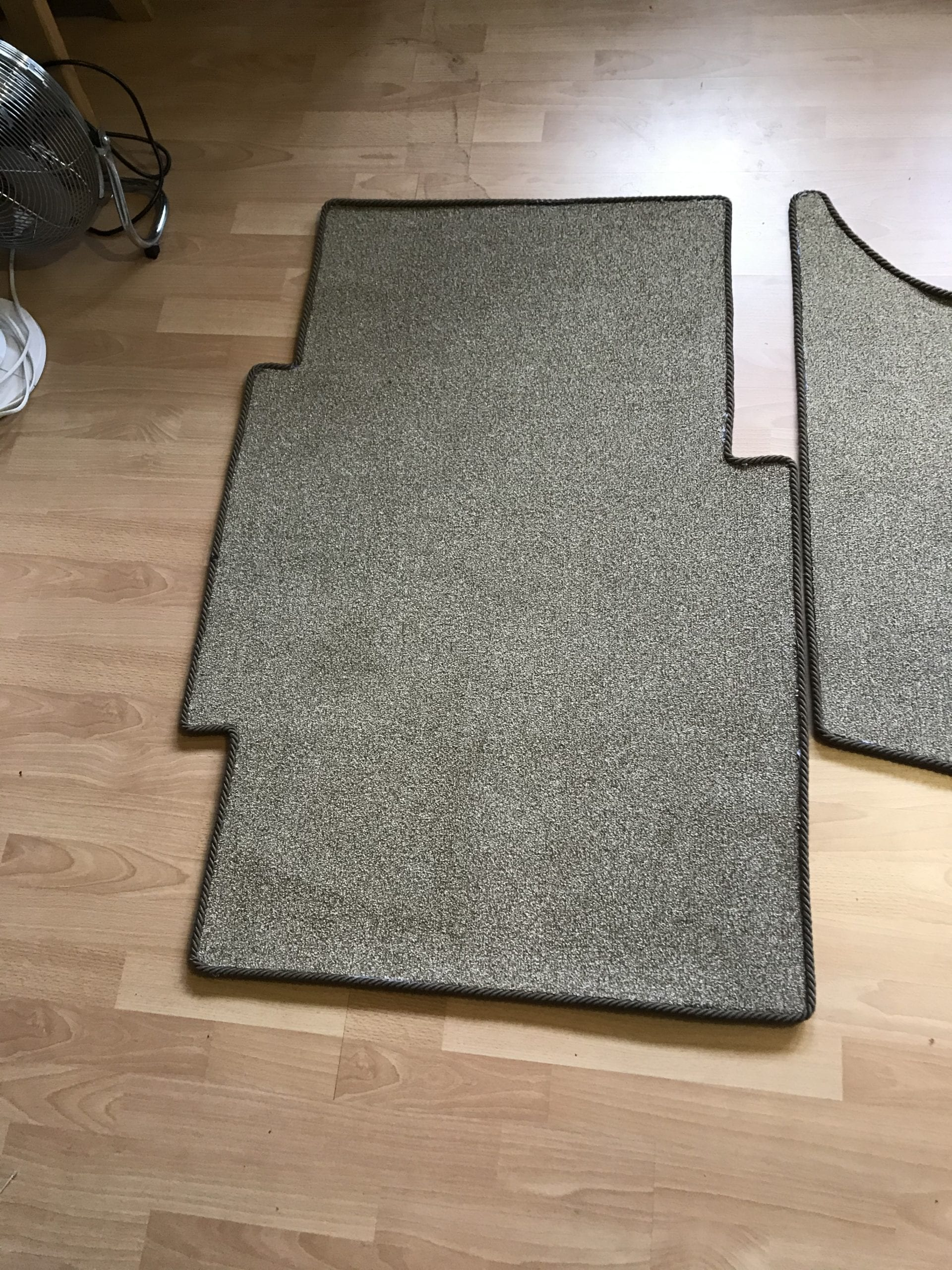 Brown flecked fitted carpet for a caravan
