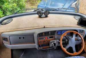 Easybind edged motorhome carpet rim on dashboard