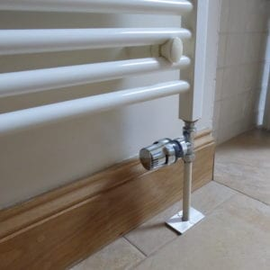 Brushed chrome radiator pipe collar oblong