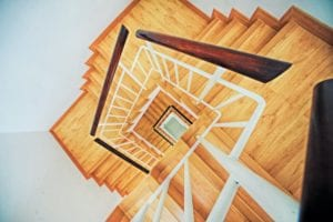 Winding staircase fitted with lvt and stair nosings