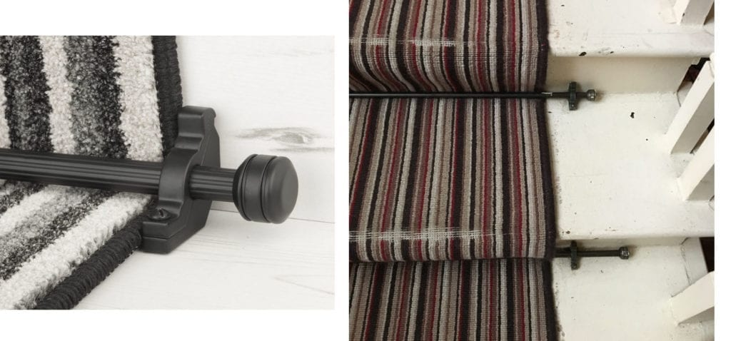 Compare old stair rod with new ones shown on striped stair runner