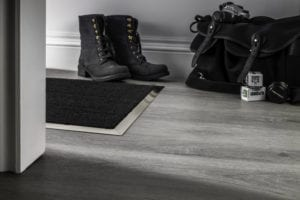 Matwell edging in satin nickel with coir mat inset