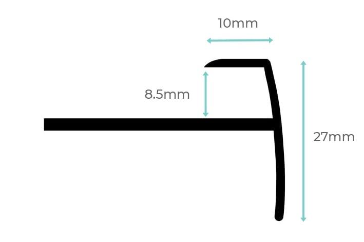 Stair nosings for laminate - Ali Top Nose dimension diagram
