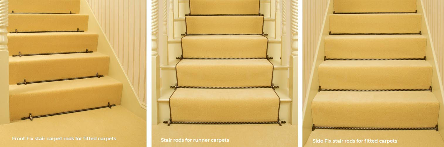 3 staircases showing front fix stair rds, runner rods and side fix stair rods