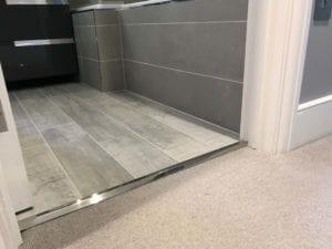 carpet threshold from carpet to lino in satin nickel finish