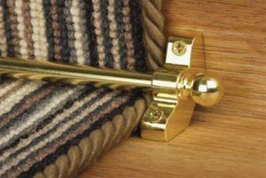 Best buy brass 9mm stair rod with bracket on striped runner