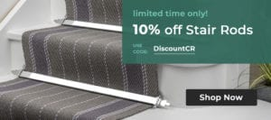 promotion offering 10% off stair rods