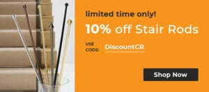promotion offering 10% off stair rods with code
