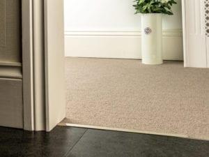 Premier Slim Z in satin nickel door threshold joining carpet to wood flooring