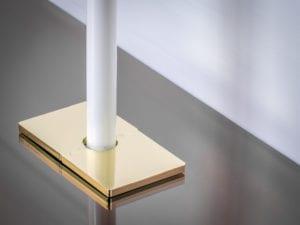 radiator pipe collar in rectangle shape around pipe brass