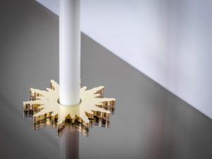 pipe collar in solis design around pipe brass