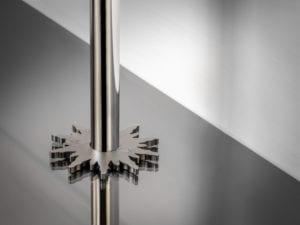 pipe collar in solis design around pipe in pewter