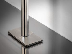 pipe cover plate in rectangle shape around pipe satin nickel