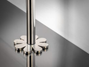 pipe collar in petal shape around pipe satin nickel