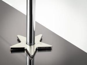pipe collar in star shape around pipe satin nickel