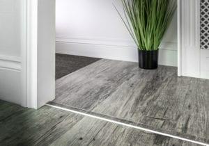 laminate door threshold with matching strip with chrome surround